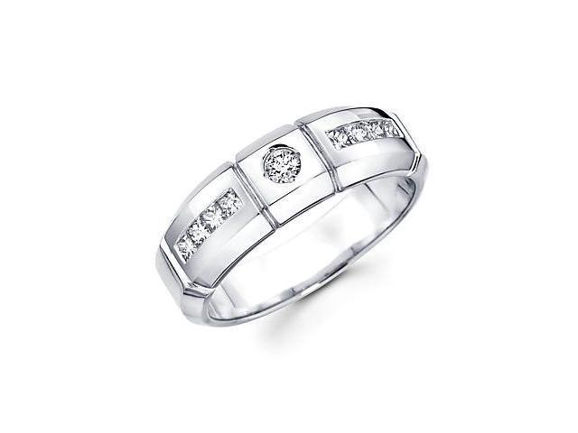 14k White Gold Mens Diamond Wedding Ring Band .54 ct (G-H Color, SI2 Clarity)