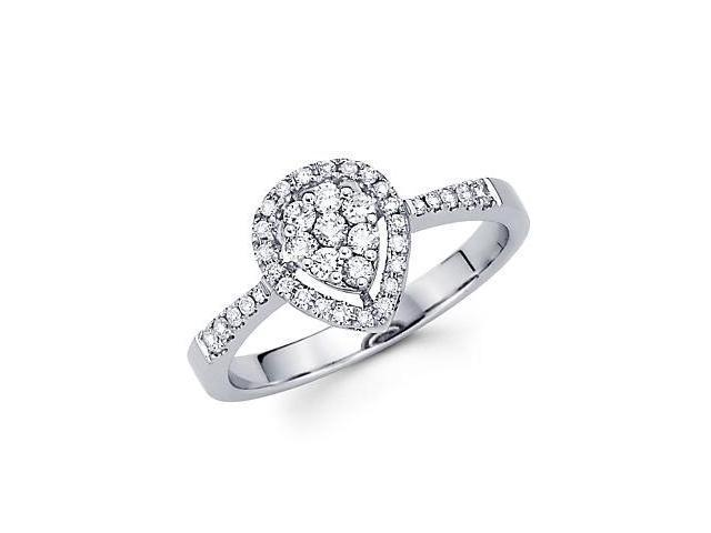 14k White Gold Pear Shape Round Diamond Ring Band .66ct (G-H Color, SI2 Clarity)