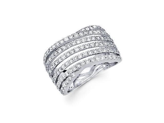14k White Gold Diamond Anniversary Right Hand Fashion Ring Band 1.52 ct (G-H Color, SI2 Clarity)
