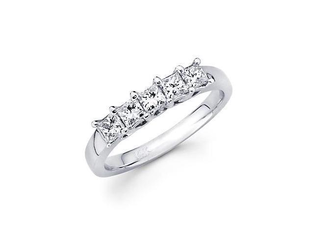 14k White Gold Five 5 Diamond Princess Cut .80ct Womens Ladies Wedding Ring (G-H Color, SI1 Clarity)