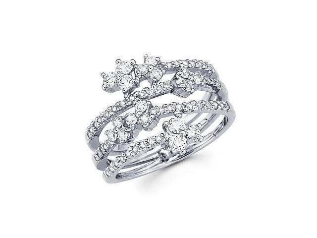 14k White Gold Diamond Anniversary Right Hand Fashion Ring Band 0.85 ct (G-H Color, SI2 Clarity)