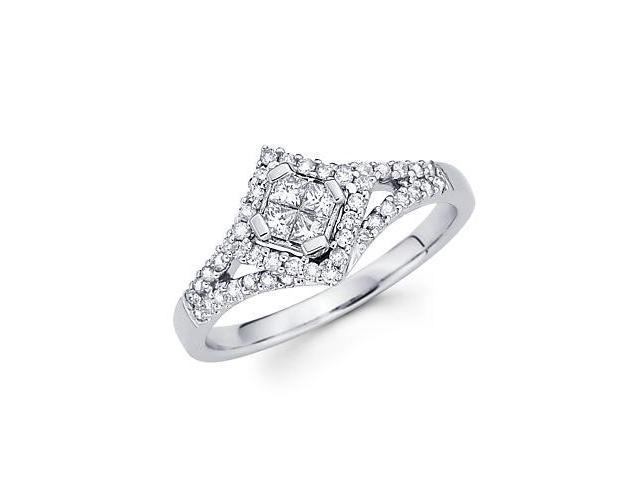 14k White Gold Princess Diamond Shape Ring Band 1/2 ct (G-H Color, SI2 Clarity)