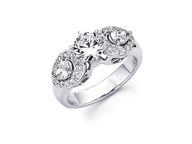 1/4ct Diamond (G-H, SI2) 14k White Gold Round Engagement Ring Semi Mount - Center Stone Not Included