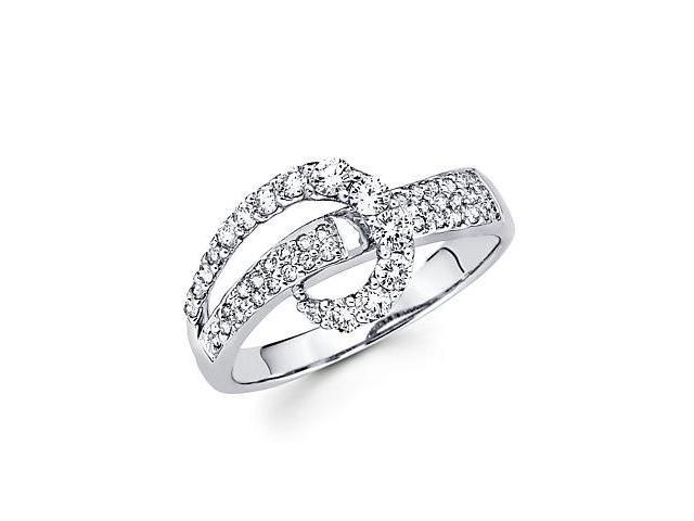 18k White Gold Cross Over Diamond Ring Band .59 ct (G-H Color, SI1 Clarity)