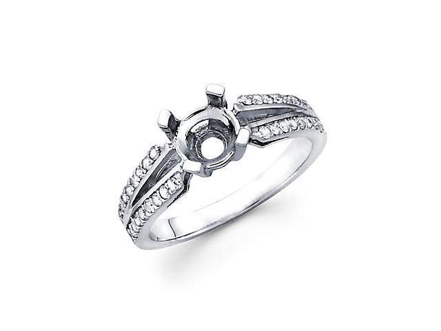 0.28ct Diamond (G-H, SI2) 14k White Gold Engagement Semi Mount Ring Setting - Fits Round 1 Ct Center