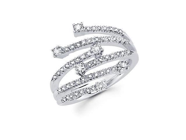 14k White Gold Diamond Anniversary Right Hand Fashion Ring Band 0.53 ct (G-H Color, SI2 Clarity)