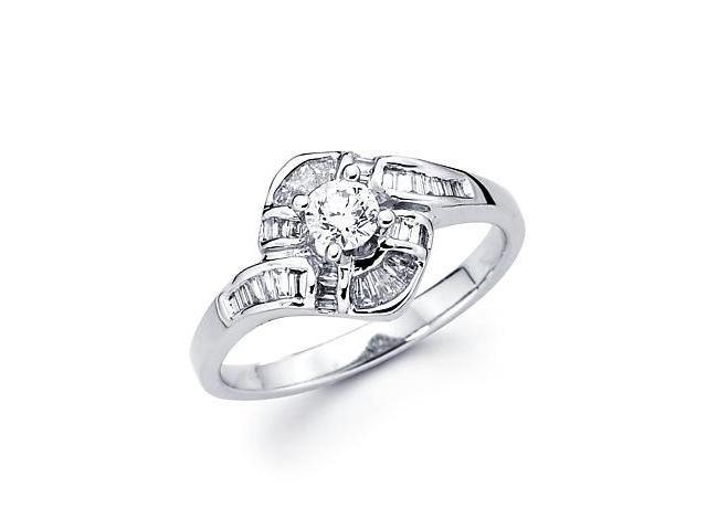 14k White Gold Diamond Engagement Ring Band 2/3 ct (G-H Color, SI2 Clarity)