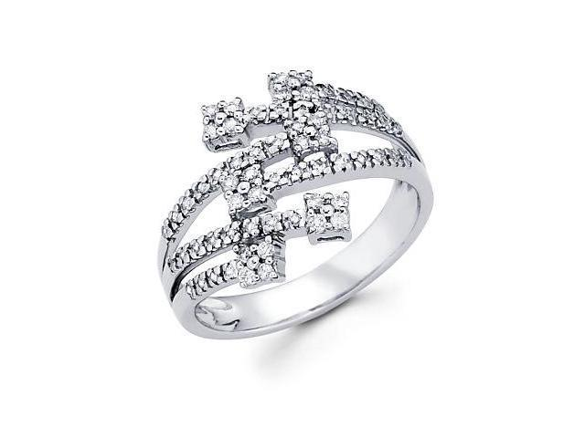 14k White Gold Diamond Anniversary Right Hand Fashion Ring Band 1/3 ct (G-H Color, SI2 Clarity)