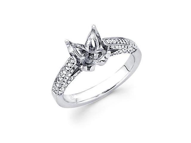 .40ct Diamond (G-H, SI2) 14k White Gold Engagement Semi Mount Ring Setting - Fits Round 2 Ct Center