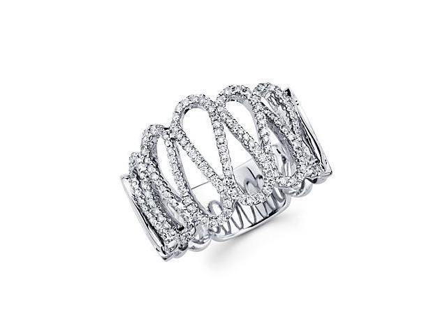 14k White Gold Diamond Anniversary Right Hand Fashion Ring Band 0.51 ct (G-H Color, SI2 Clarity)