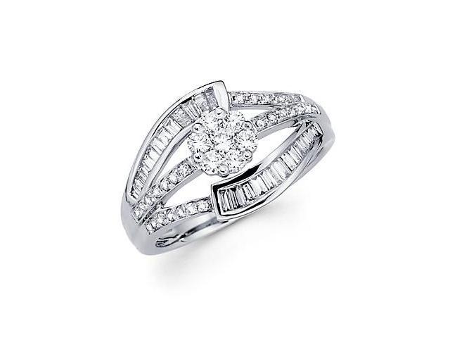 14k White Gold Diamond Flower Large Ring Band .80 ct (G Color, SI1 Clarity)