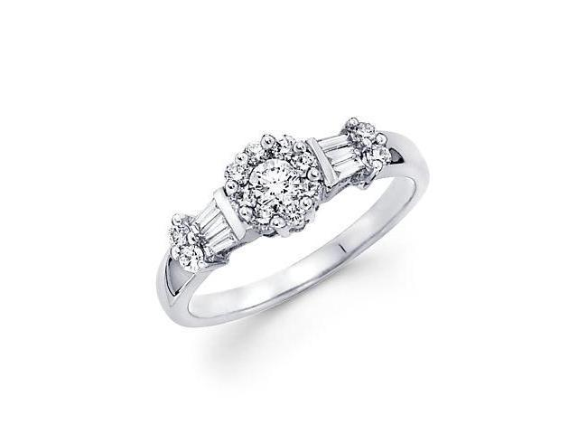 14k White Gold Round Diamond Engagement Ring Band .49ct (G Color, SI1 Clarity)