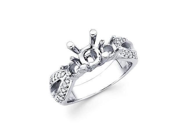 1/4ct Diamond (G-H, SI2) 14k White Gold Engagement Semi Mount Ring Setting - Fits Round 1.5ct Center