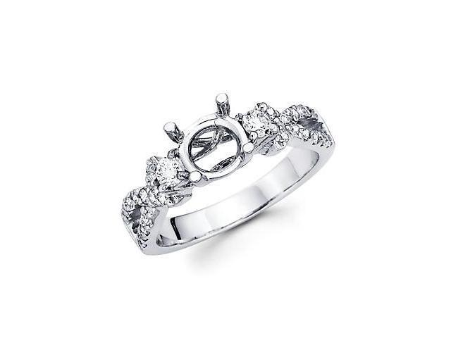 0.49ct Diamond (G-H, SI2) 14k White Gold Engagement Semi Mount Ring Setting - Fits Round 1 Ct Center