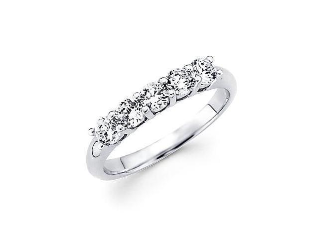 14k White Gold 5 Five Round Diamond Womens Ladies Wedding Ring 1.0 ct (G-H Color, SI2 Clarity)