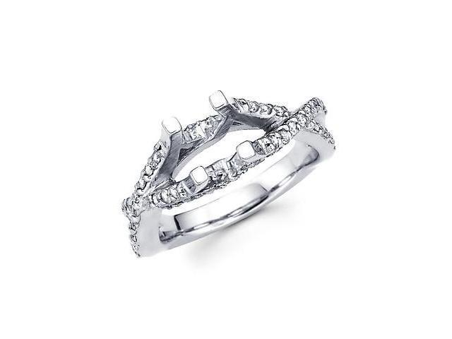 1/2ct Diamond (G-H, SI2) 14k White Gold Engagement Semi Mount Ring Setting - Fits Round 1 Ct Center
