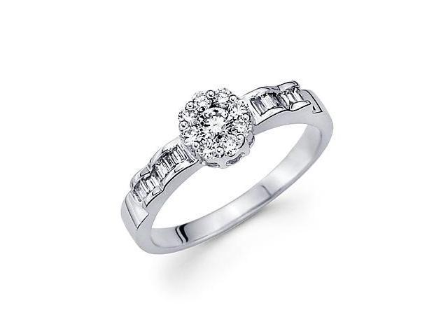 14k White Gold Flower Round Baguette Diamond Ring .42ct (G Color, SI1 Clarity)