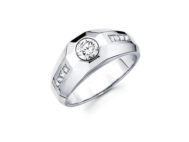 Princess Cut Channel Set 14k White Gold Mens Large Diamond Semi Mount Ring .45ct (G-H, SI2)