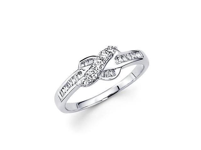 14k White Gold Cross Over Bow Diamond Ring Band .37 ct (G Color, SI1 Clarity)