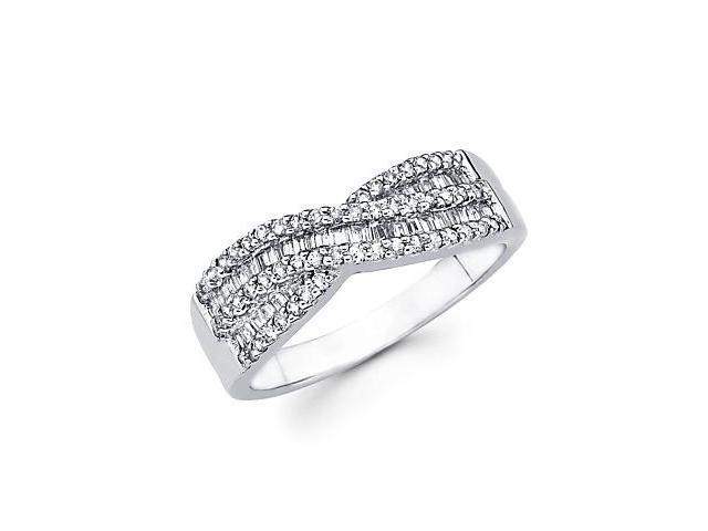 14k White Gold Cross Over Diamond Channel Set Ring Band .56 ct (G-H Color, SI2 Clarity)