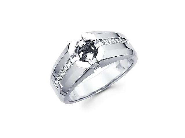 Princess Cut Channel Set 14k White Gold Mens Large Diamond Semi Mount Ring .65ct (G-H, SI2)