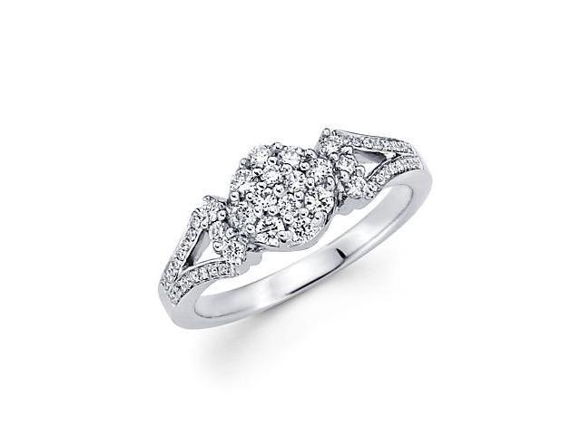 14k White Gold Flower Cluster Round Diamond Ring .43 ct (G Color, SI1 Clarity)
