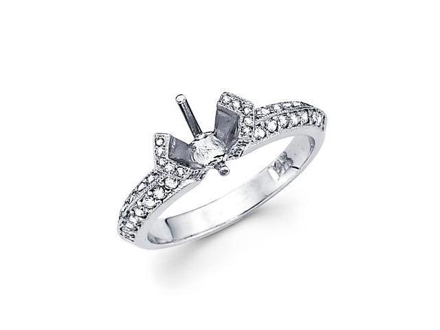0.42ct Diamond (G-H, SI2) 14k White Gold Engagement Semi Mount Ring Setting - Fits Round 1 Ct Center