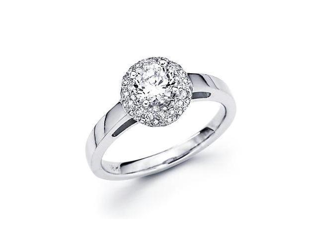 14k White Gold Diamond Engagement Semi Mount Ring Setting - 1/2ct Center Stone Not Included
