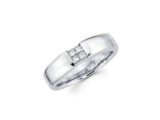 Princess Cut Channel Set 14K White Gold Mens 4 Four Diamond Wedding Ring Band .30ct (G-H, SI1)