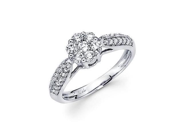 14k White Gold Flower Cluster Round Diamond Ring .78 ct (G Color, SI1 Clarity)