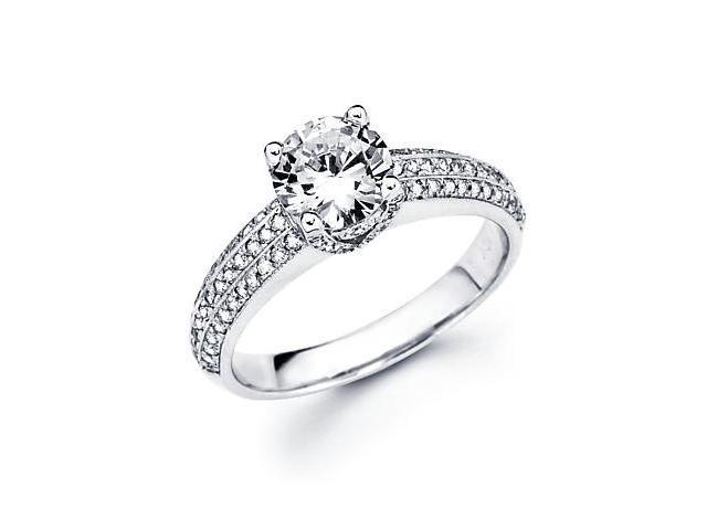 14k White Gold Diamond (G-H, SI2) Engagement Semi Mount Ring Setting - 1ct Center Stone Not Included