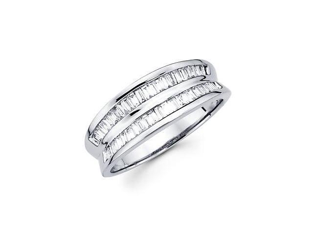 14k White Gold Diamond Channel Set Only Baguette Ring Band .58 ct (G-H Color, SI1 Clarity)