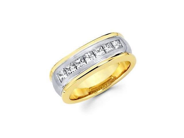 Princess Cut Channel Set 14k Yellow White Gold Mens Diamond Wedding Ring Band 1.14ct (G-H, SI1)