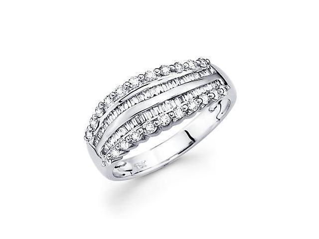 14k White Gold Baguette Diamond Anniversary Ring Band .57 ct (G Color, SI1 Clarity)