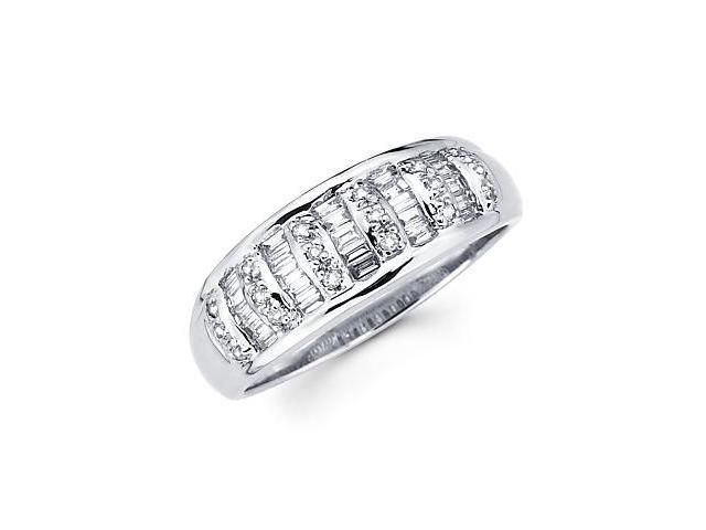 14k White Gold Diamond Channel Set Wedding Dome Ring Band .44 ct (G-H Color, SI2 Clarity)