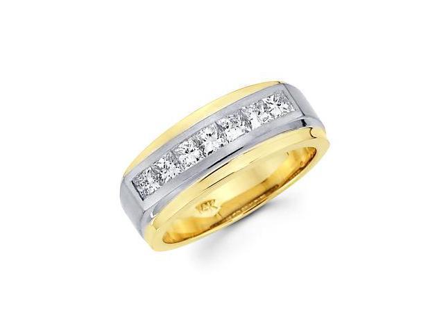Princess Cut Channel Set 14k Two Tone Gold Mens Diamond Wedding Ring Band 1.12ct (G-H, SI1)