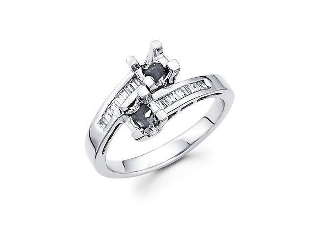 14k White Gold Cross Over Diamond Channel Set Semi Mount Ring .17ct (G-H Color, SI1 Clarity)