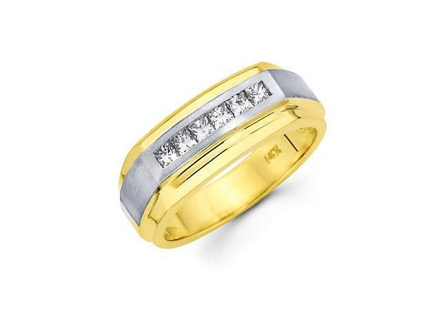 Princess Cut Channel Set 14k Two Tone Gold Mens Diamond Wedding Ring Band .46 ct (G-H, SI1)