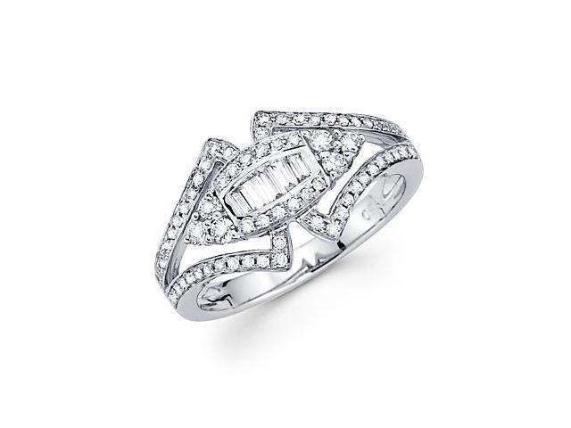 14k White Gold Unique Design Diamond Ring Band .56 ct (G Color, SI1 Clarity)