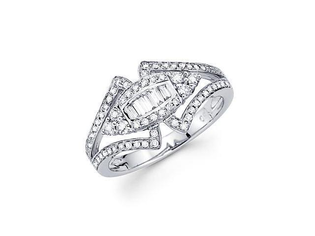 14k White Gold Unique Design Diamond Ring Band .56 ct (G Color, SI1 Clarity)