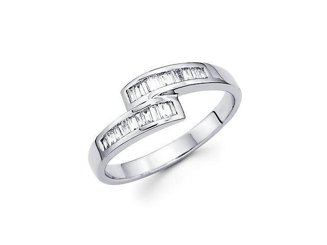 14k White Gold Cross Over Diamond Channel Set Baguette Ring .27 ct (G-H Color, SI1 Clarity)