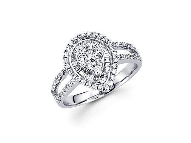 14k White Gold Pear Shape Round Diamond Ring Band .83ct (G Color, SI1 Clarity)