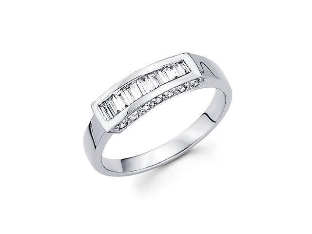 14k White Gold Baguette Diamond Channel Set Wedding Ring Band .39ct (G-H Color, SI2 Clarity)