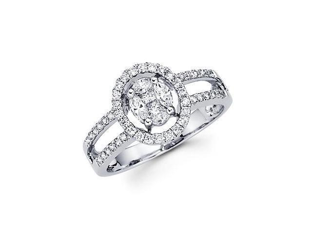 14k White Gold Diamond Flower Round Ring Band .52 ct (G Color, SI1 Clarity)