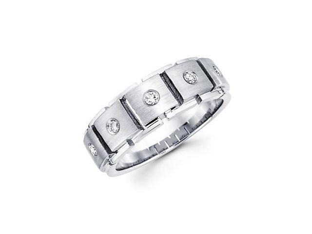 14k White Gold Mens 5 Diamond Wedding Ring Band .21ct (G-H Color, SI2 Clarity)