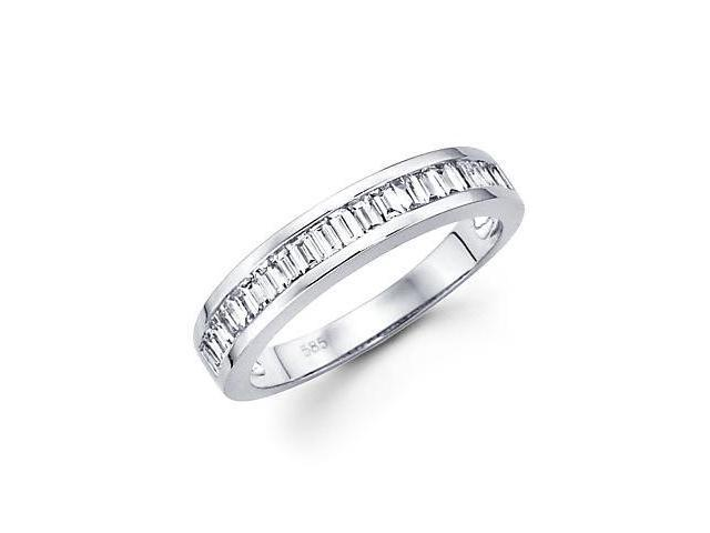 14k White Gold Baguette Diamond Channel Set Wedding Ring Band .49ct (G-H Color, SI1 Clarity)