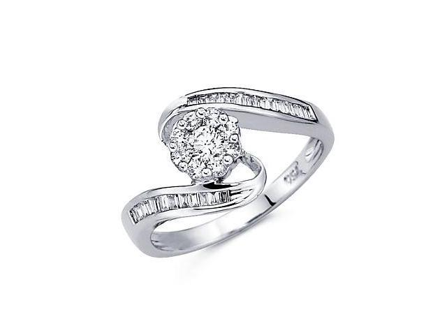 14k White Gold Flower Round Baguette Diamond Ring .44ct (G Color, SI1 Clarity)