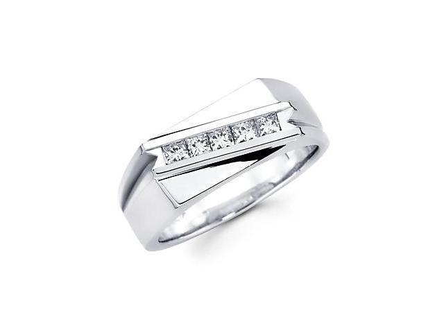 Princess Cut Channel Set 14k White Gold Mens Diamond Ring .47 ct (G-H Color, SI1 Clarity)