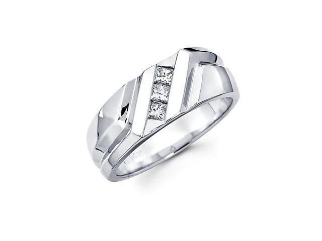 Princess Cut Channel Set 14k White Gold Mens 3 Diamond Wedding Ring Band .30ct (G-H, SI1)
