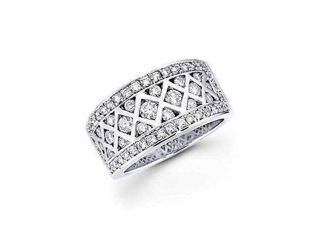 14k White Gold Round Diamond Anniversary Ring Band 1.24 ct (G-H Color, SI2 Clarity)